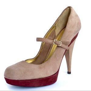 Dolce & Gabbana tan & maroon Mary Jane heels GUC